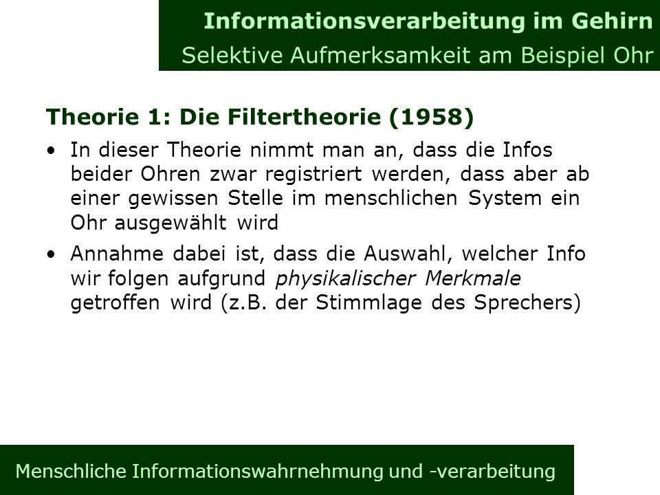 Menschliche Informationswahrnehmung und -verarbeitung Theorie 1: Die Filtertheorie (1958) In dieser Theorie nimmt man an, dass die Infos beider Ohren