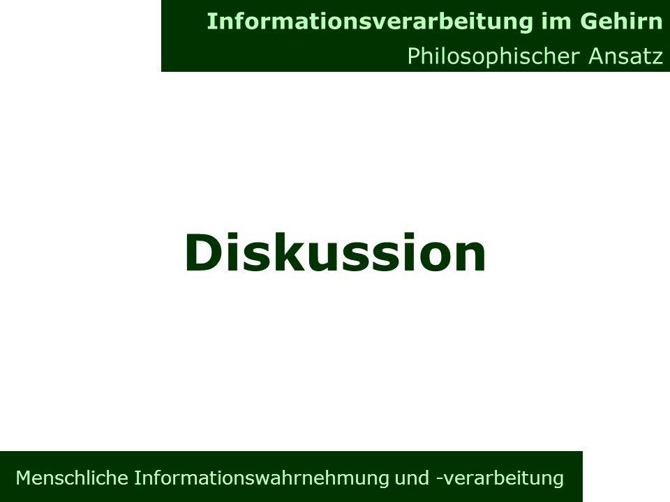 Menschliche Informationswahrnehmung und -verarbeitung Informationsverarbeitung im Gehirn Allgemeines Informationsverarbeitung im Gehirn Philosophischer Ansatz Diskussion