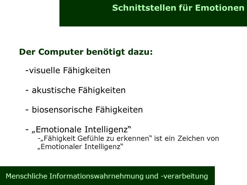 Menschliche Informationswahrnehmung und -verarbeitung Informationsverarbeitung im Gehirn Allgemeines Schnittstellen für Emotionen Der Computer benötig