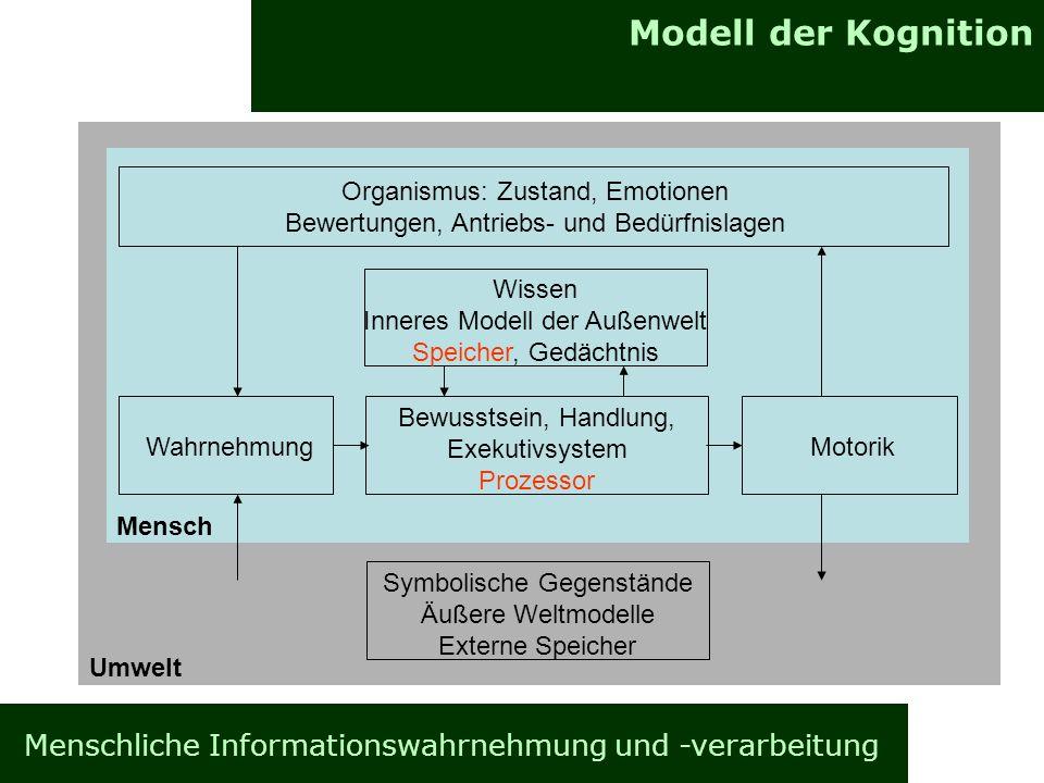 Modell der Kognition Menschliche Informationswahrnehmung und -verarbeitung Organismus: Zustand, Emotionen Bewertungen, Antriebs- und Bedürfnislagen Wi