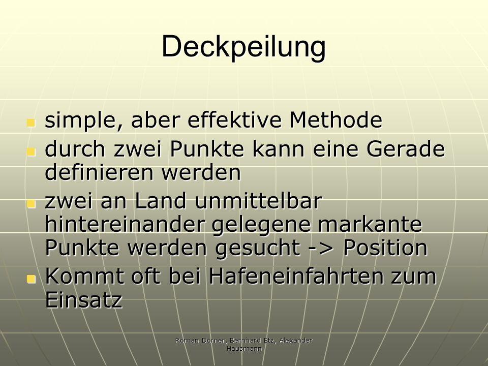 Roman Dorner, Bernhard Etz, Alexander Hausmann Deckpeilung simple, aber effektive Methode simple, aber effektive Methode durch zwei Punkte kann eine G