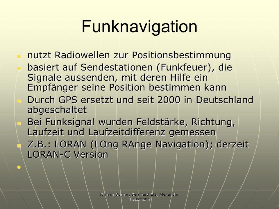 Roman Dorner, Bernhard Etz, Alexander Hausmann Funknavigation nutzt Radiowellen zur Positionsbestimmung nutzt Radiowellen zur Positionsbestimmung basi