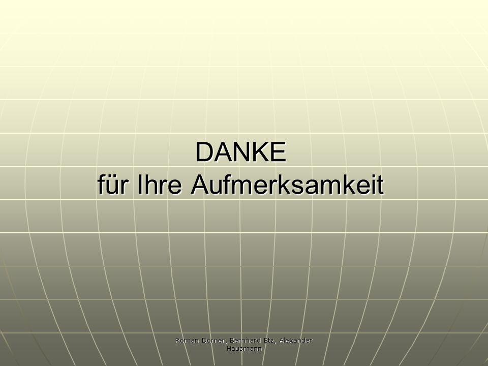Roman Dorner, Bernhard Etz, Alexander Hausmann DANKE für Ihre Aufmerksamkeit