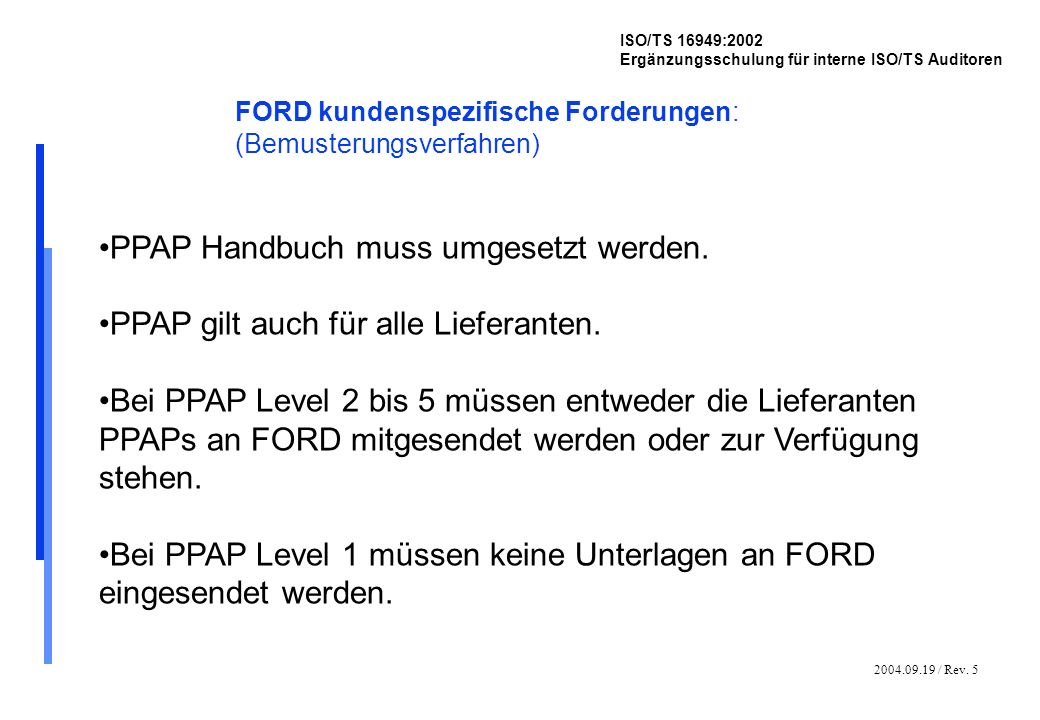 2004.09.19 / Rev. 5 ISO/TS 16949:2002 Ergänzungsschulung für interne ISO/TS Auditoren FORD kundenspezifische Forderungen: (Bemusterungsverfahren) PPAP