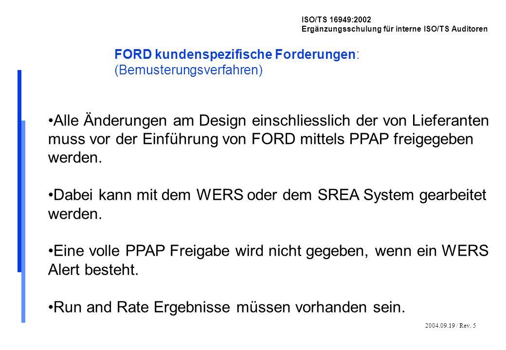 2004.09.19 / Rev. 5 ISO/TS 16949:2002 Ergänzungsschulung für interne ISO/TS Auditoren FORD kundenspezifische Forderungen: (Bemusterungsverfahren) Alle