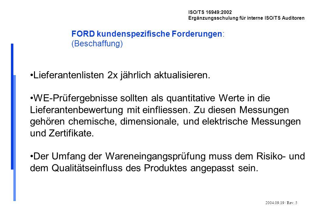 2004.09.19 / Rev. 5 ISO/TS 16949:2002 Ergänzungsschulung für interne ISO/TS Auditoren FORD kundenspezifische Forderungen: (Beschaffung) Lieferantenlis