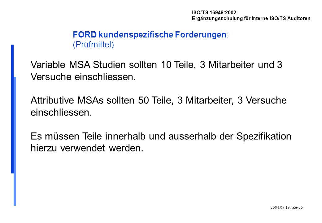 2004.09.19 / Rev. 5 ISO/TS 16949:2002 Ergänzungsschulung für interne ISO/TS Auditoren FORD kundenspezifische Forderungen: (Prüfmittel) Variable MSA St