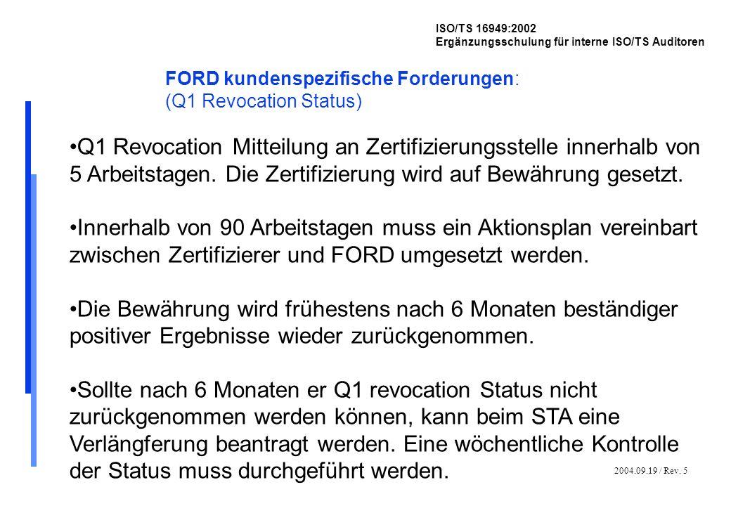 2004.09.19 / Rev. 5 ISO/TS 16949:2002 Ergänzungsschulung für interne ISO/TS Auditoren FORD kundenspezifische Forderungen: (Q1 Revocation Status) Q1 Re