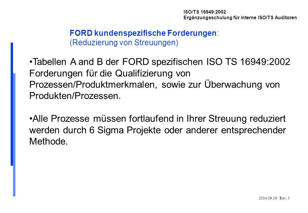 2004.09.19 / Rev. 5 ISO/TS 16949:2002 Ergänzungsschulung für interne ISO/TS Auditoren FORD kundenspezifische Forderungen: (Reduzierung von Streuungen)