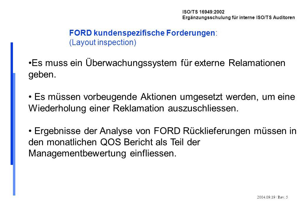2004.09.19 / Rev. 5 ISO/TS 16949:2002 Ergänzungsschulung für interne ISO/TS Auditoren FORD kundenspezifische Forderungen: (Layout inspection) Es muss