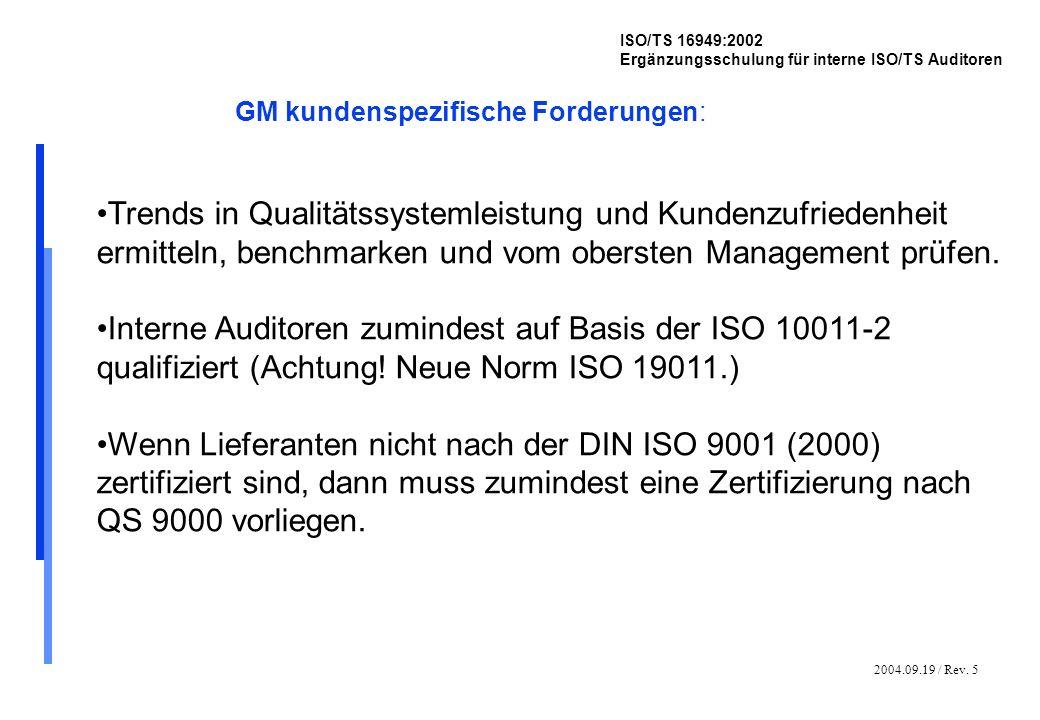 2004.09.19 / Rev. 5 ISO/TS 16949:2002 Ergänzungsschulung für interne ISO/TS Auditoren GM kundenspezifische Forderungen: Trends in Qualitätssystemleist