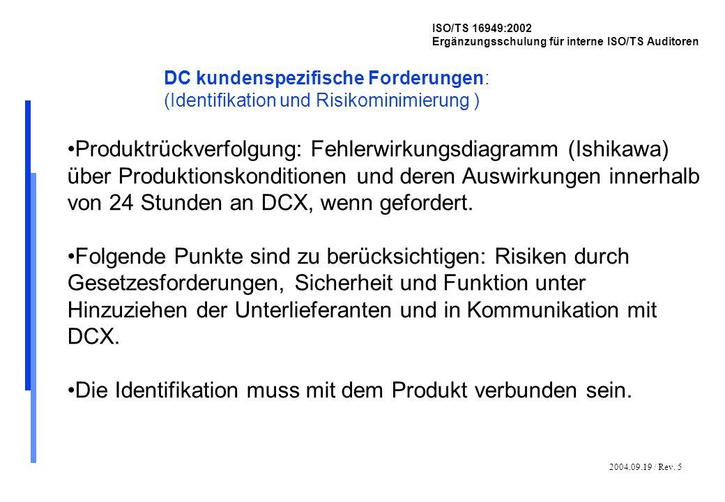 2004.09.19 / Rev. 5 ISO/TS 16949:2002 Ergänzungsschulung für interne ISO/TS Auditoren DC kundenspezifische Forderungen: (Identifikation und Risikomini