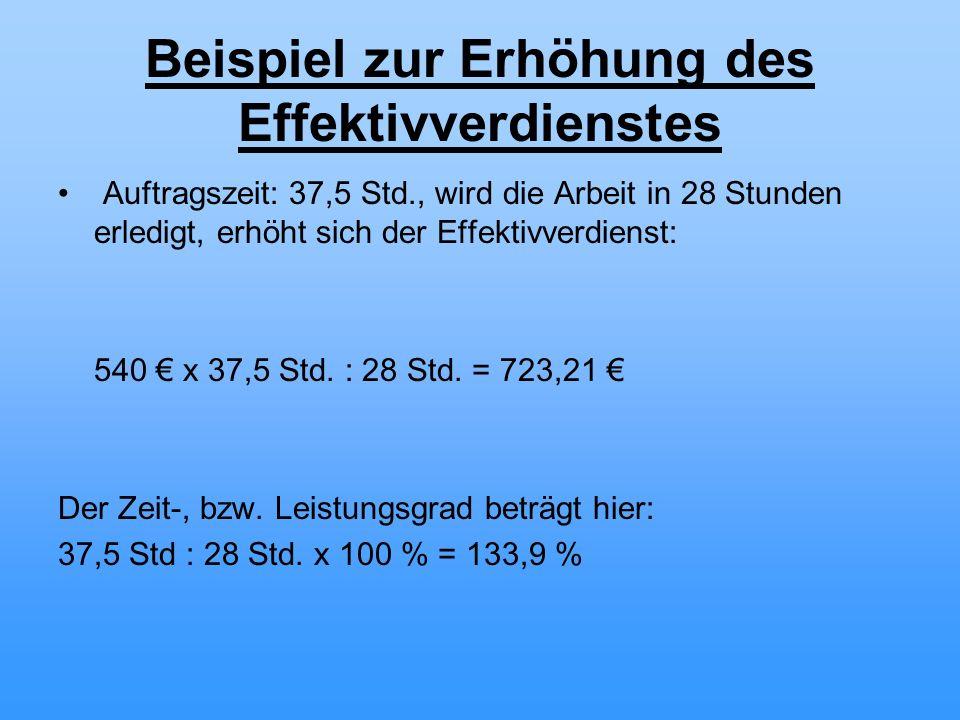 Beispiel zur Erhöhung des Effektivverdienstes Auftragszeit: 37,5 Std., wird die Arbeit in 28 Stunden erledigt, erhöht sich der Effektivverdienst: 540 x 37,5 Std.