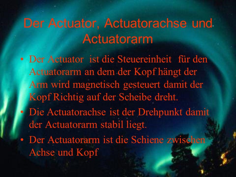 Der Actuator, Actuatorachse und Actuatorarm Der Actuator ist die Steuereinheit für den Actuatorarm an dem der Kopf hängt der Arm wird magnetisch geste