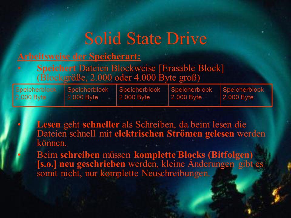 Solid State Drive Arbeitsweise der Speicherart: Speichert Dateien Blockweise [Erasable Block] (Blockgröße, 2.000 oder 4.000 Byte groß) Lesen geht schn