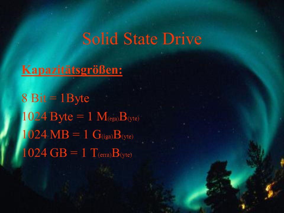 Solid State Drive Kapazitätsgrößen: 8 Bit = 1Byte 1024 Byte = 1 M (ega) B (yte) 1024 MB = 1 G (iga) B (yte) 1024 GB = 1 T (erra) B (yte)