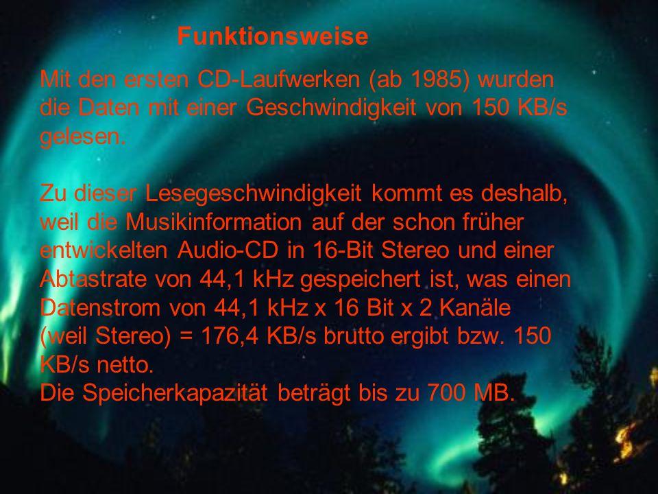 Mit den ersten CD-Laufwerken (ab 1985) wurden die Daten mit einer Geschwindigkeit von 150 KB/s gelesen. Zu dieser Lesegeschwindigkeit kommt es deshalb