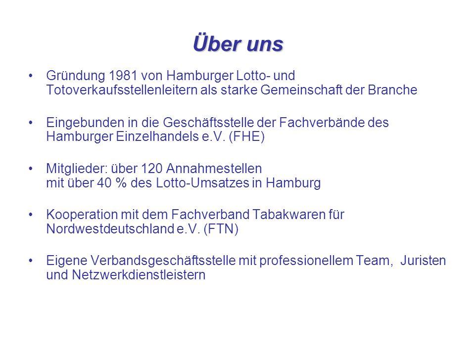 Über uns Gründung 1981 von Hamburger Lotto- und Totoverkaufsstellenleitern als starke Gemeinschaft der Branche Eingebunden in die Geschäftsstelle der Fachverbände des Hamburger Einzelhandels e.V.