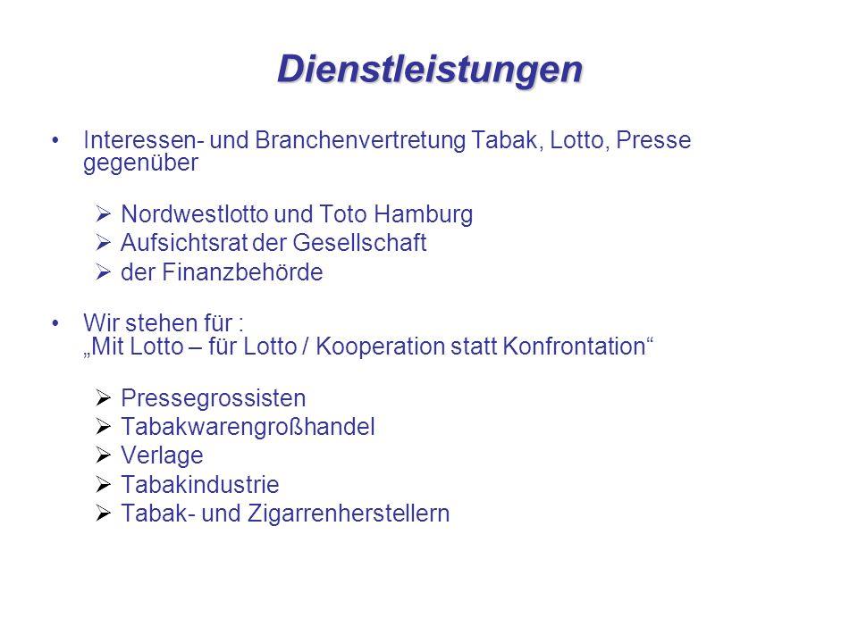 Dienstleistungen Interessen- und Branchenvertretung Tabak, Lotto, Presse gegenüber Nordwestlotto und Toto Hamburg Aufsichtsrat der Gesellschaft der Fi
