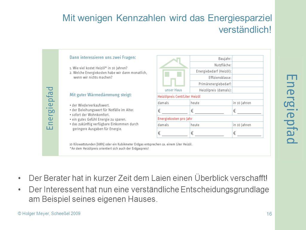 © Holger Meyer, Scheeßel 2009 16 Mit wenigen Kennzahlen wird das Energiesparziel verständlich.