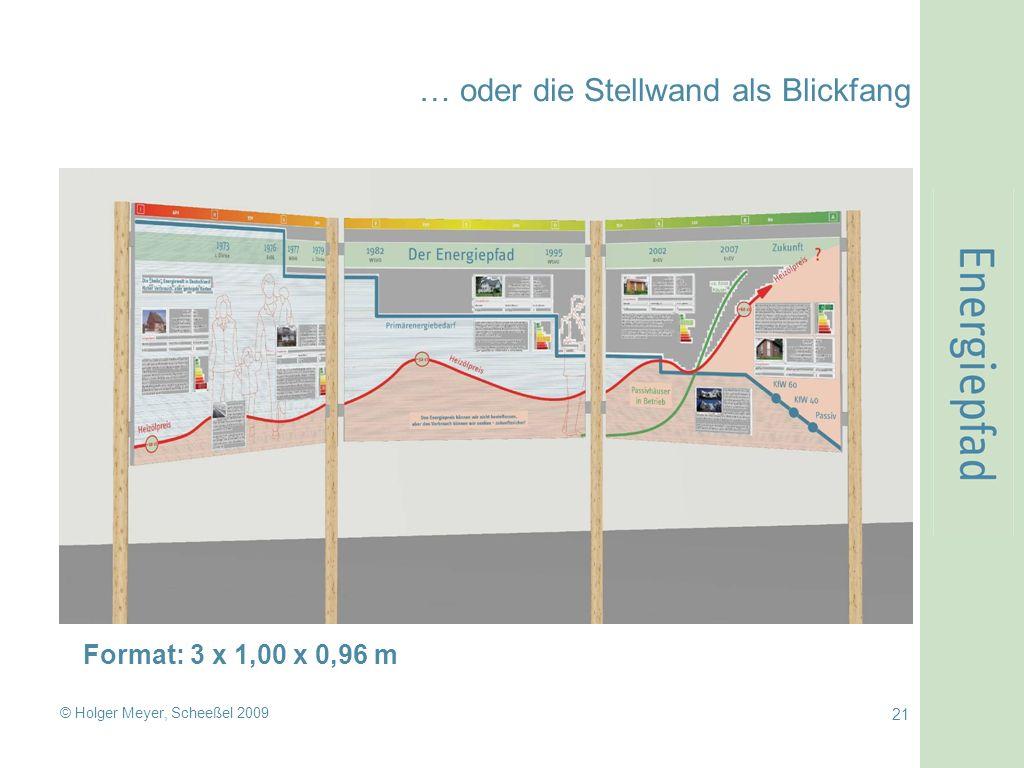 © Holger Meyer, Scheeßel 2009 21 … oder die Stellwand als Blickfang Format: 3 x 1,00 x 0,96 m