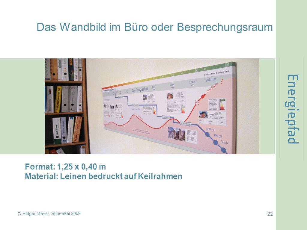 © Holger Meyer, Scheeßel 2009 22 Das Wandbild im Büro oder Besprechungsraum Format: 1,25 x 0,40 m Material: Leinen bedruckt auf Keilrahmen
