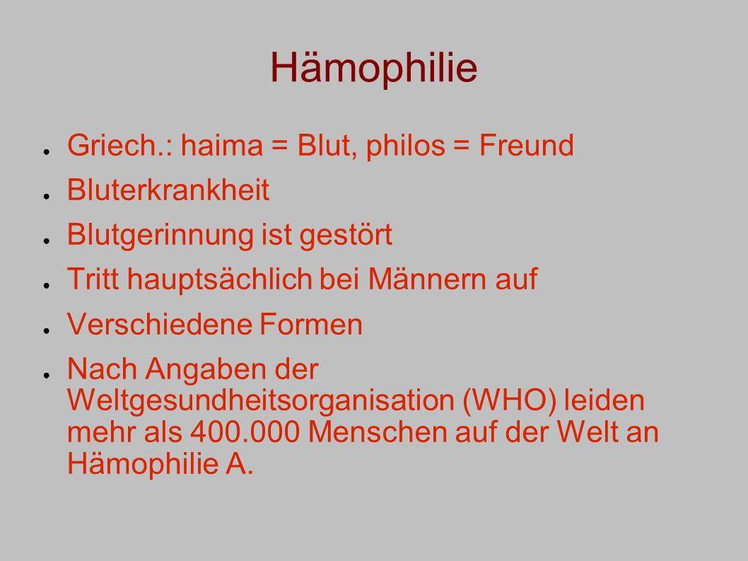 Hämophilie Griech.: haima = Blut, philos = Freund Bluterkrankheit Blutgerinnung ist gestört Tritt hauptsächlich bei Männern auf Verschiedene Formen Na