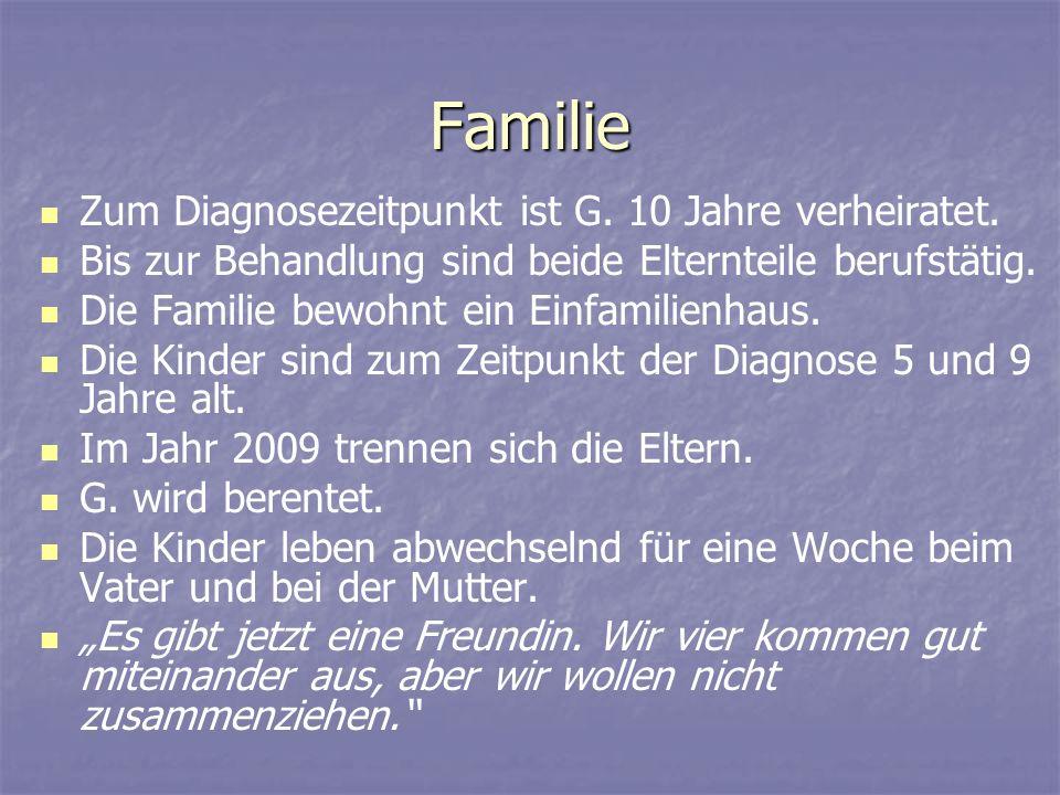 Familie Zum Diagnosezeitpunkt ist G. 10 Jahre verheiratet. Bis zur Behandlung sind beide Elternteile berufstätig. Die Familie bewohnt ein Einfamilienh