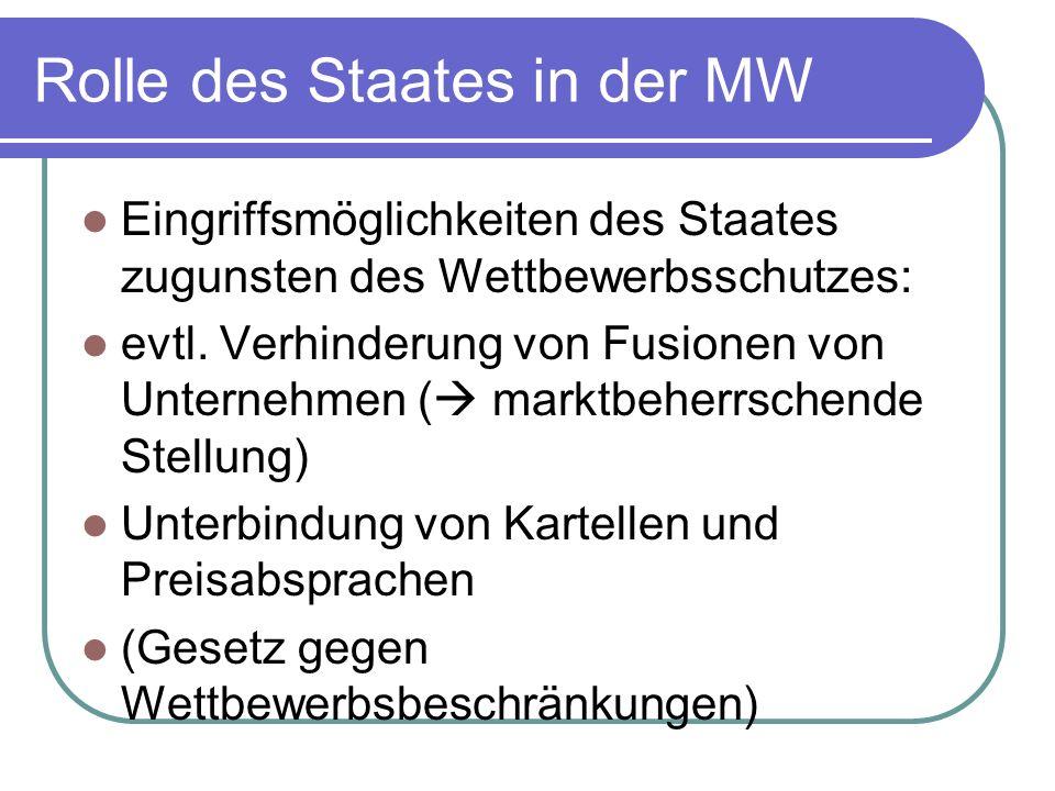 Rolle des Staates in der MW Eingriffsmöglichkeiten des Staates zugunsten des Wettbewerbsschutzes: evtl. Verhinderung von Fusionen von Unternehmen ( ma