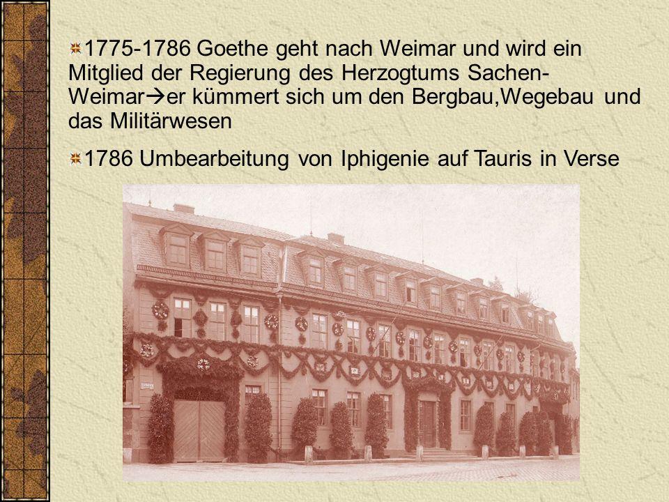 1788 Rückkehr nach Weimar -> bekam die Aufsicht über das Weimarer Theater 1792 Begleitung des Herzogs auf den Kriegschauplatz nach Frankreich 1794 Beginn der Freundschaft mit Schiller 1797-1804 Goethe reiste in dieser Zeit viel 1805 mit Schillers Tod folgte eine gewisse Vereinsamung bei dem Dichter Goethe
