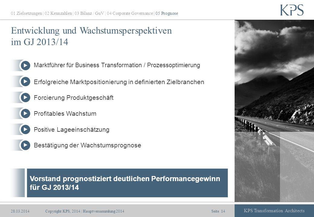 Seite KPS Transformation Architects Entwicklung und Wachstumsperspektiven im GJ 2013/14 Erfolgreiche Marktpositionierung in definierten Zielbranchen F