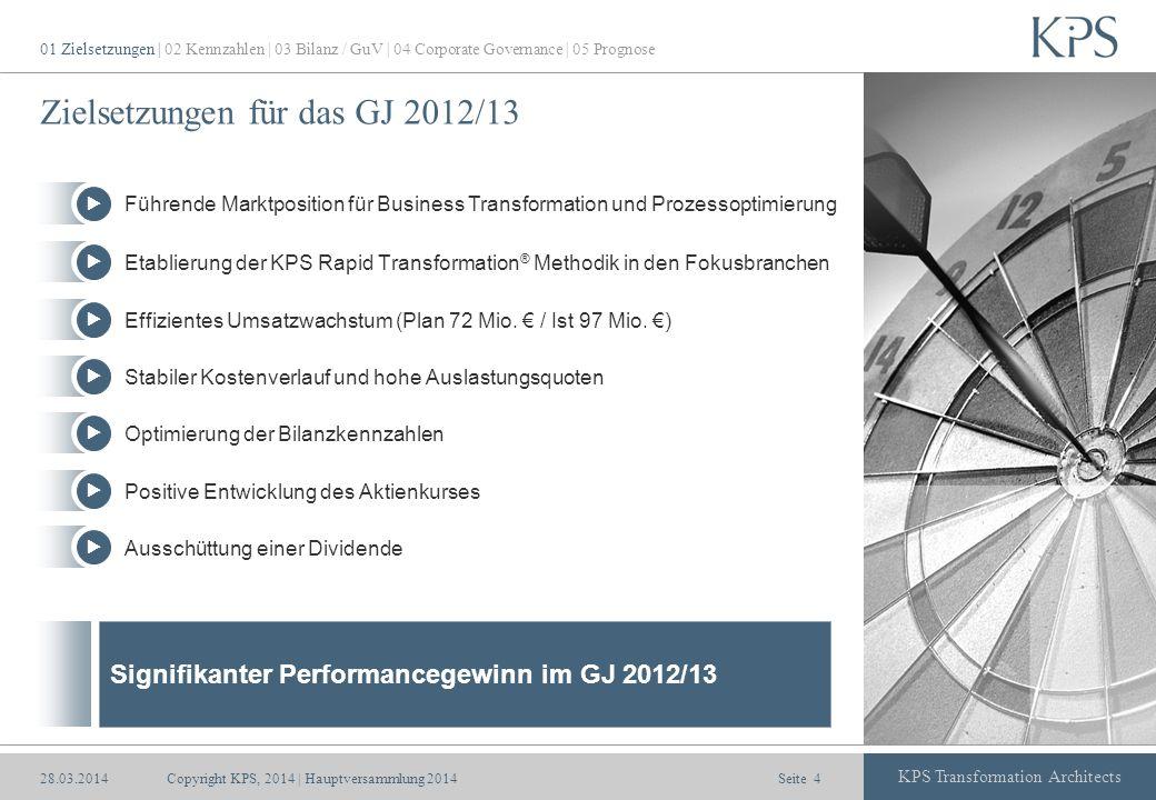 Seite KPS Transformation Architects Zielsetzungen für das GJ 2012/13 Signifikanter Performancegewinn im GJ 2012/13 01 Zielsetzungen | 02 Kennzahlen |