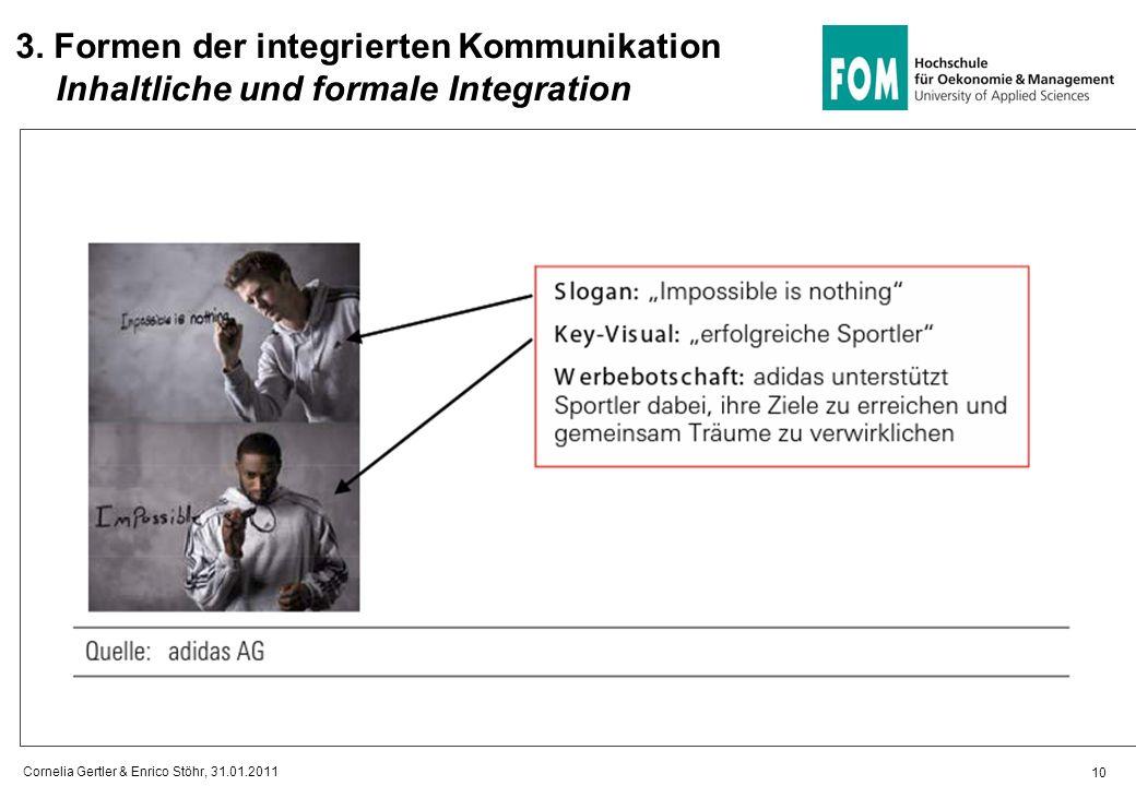 10 3. Formen der integrierten Kommunikation Inhaltliche und formale Integration Cornelia Gertler & Enrico Stöhr, 31.01.2011