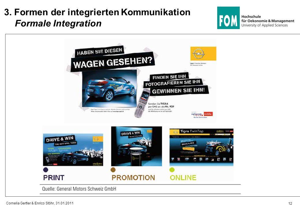12 3. Formen der integrierten Kommunikation Formale Integration Cornelia Gertler & Enrico Stöhr, 31.01.2011