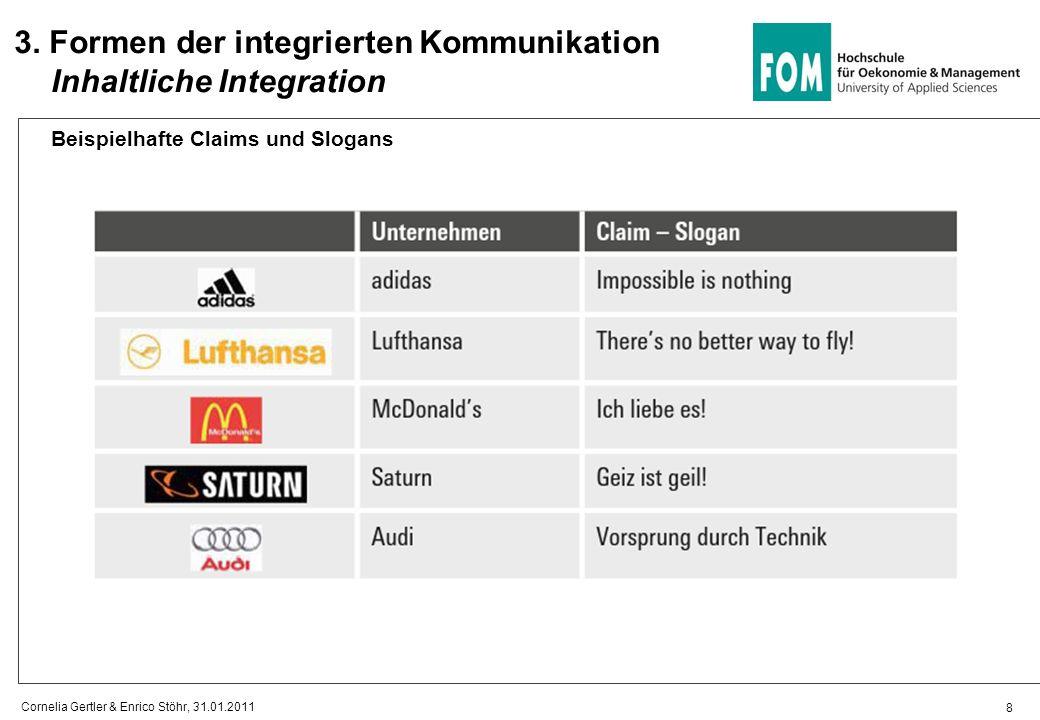 8 Beispielhafte Claims und Slogans 3. Formen der integrierten Kommunikation Inhaltliche Integration Cornelia Gertler & Enrico Stöhr, 31.01.2011