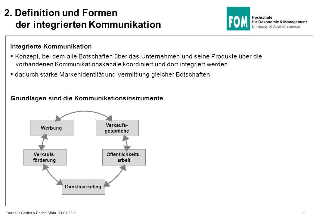 2. Definition und Formen der integrierten Kommunikation Integrierte Kommunikation Konzept, bei dem alle Botschaften über das Unternehmen und seine Pro