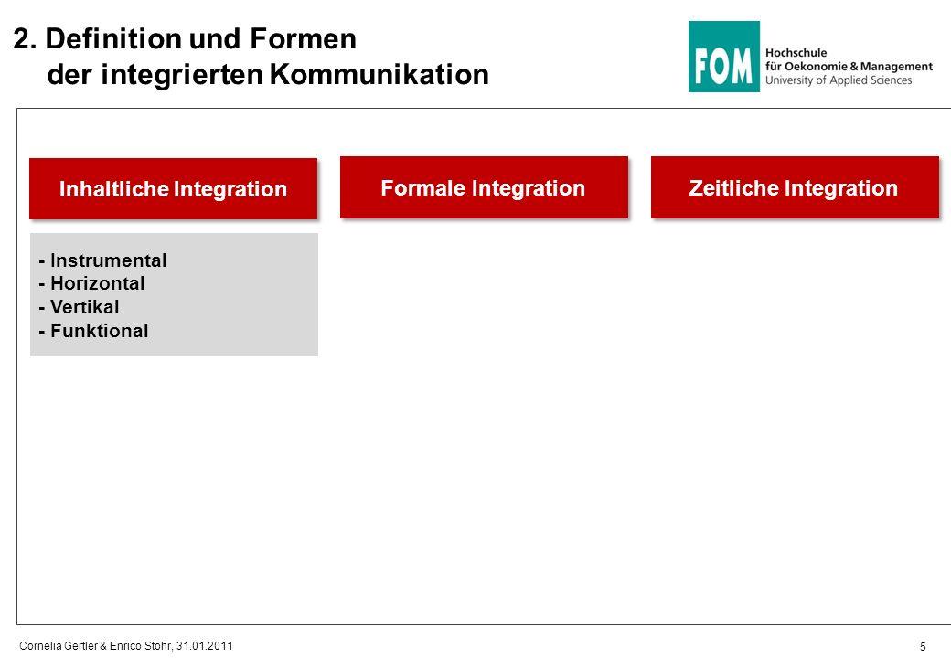 2. Definition und Formen der integrierten Kommunikation Inhaltliche Integration 5 Cornelia Gertler & Enrico Stöhr, 31.01.2011 Formale Integration Zeit