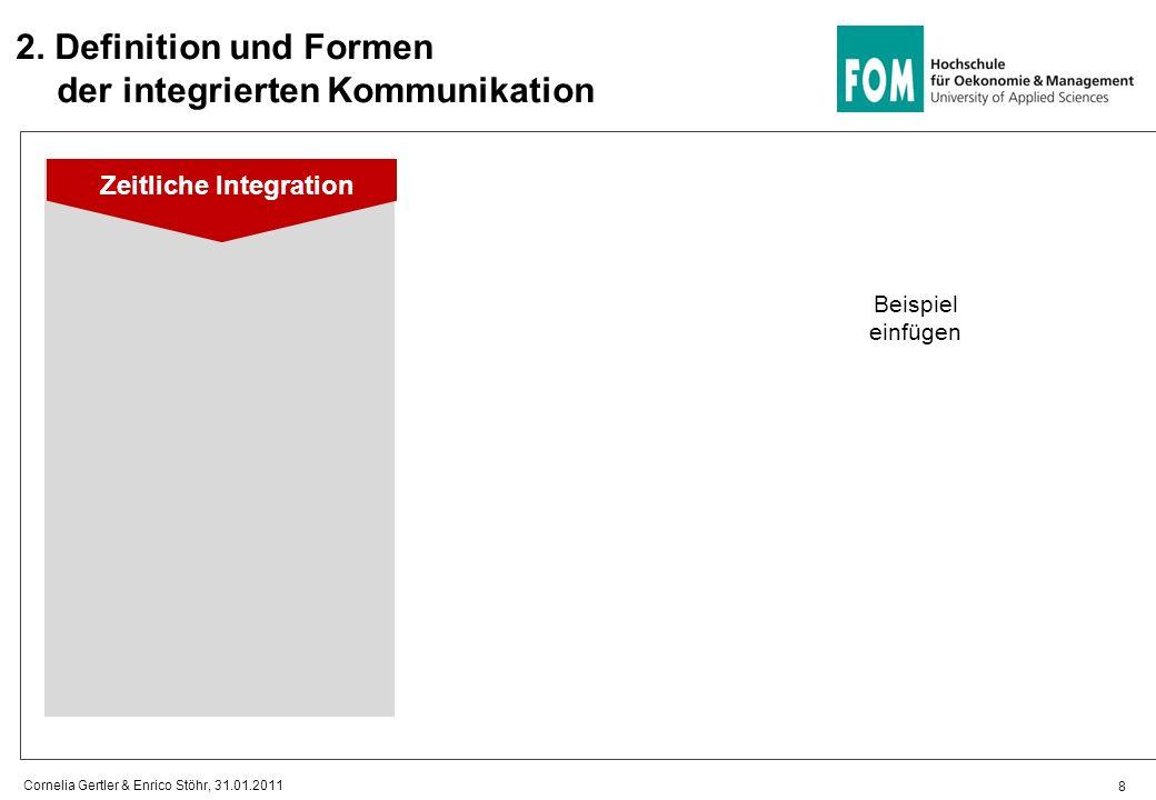 2. Definition und Formen der integrierten Kommunikation 8 Cornelia Gertler & Enrico Stöhr, 31.01.2011 Zeitliche Integration Beispiel einfügen