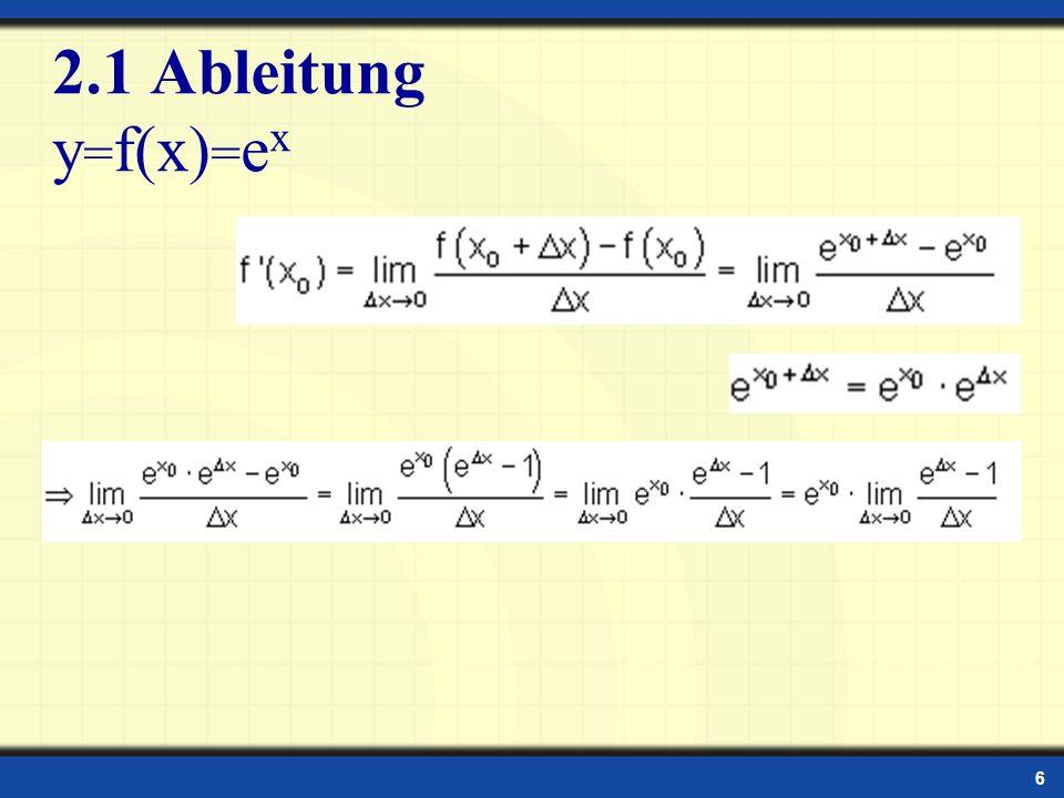 6 2.1 Ableitung y = f(x) = e x