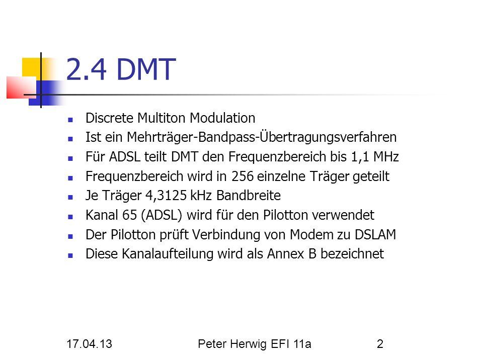 17.04.13Peter Herwig EFI 11a2 2.4 DMT Discrete Multiton Modulation Ist ein Mehrträger-Bandpass-Übertragungsverfahren Für ADSL teilt DMT den Frequenzbe