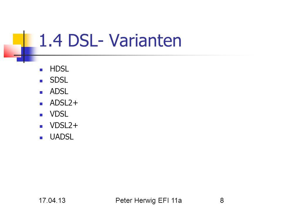 17.04.13Peter Herwig EFI 11a8 1.4 DSL- Varianten HDSL SDSL ADSL ADSL2+ VDSL VDSL2+ UADSL