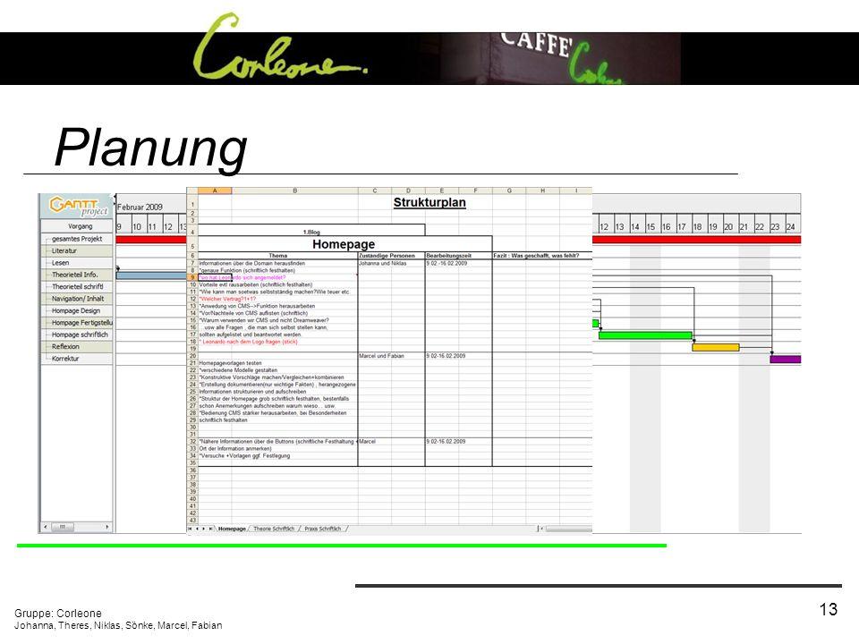 Gruppe: Corleone Johanna, Theres, Niklas, Sönke, Marcel, Fabian 13 Planung Unternehmensauswahl Projektgliederung und Aufgabenverteilung Strukturplan W