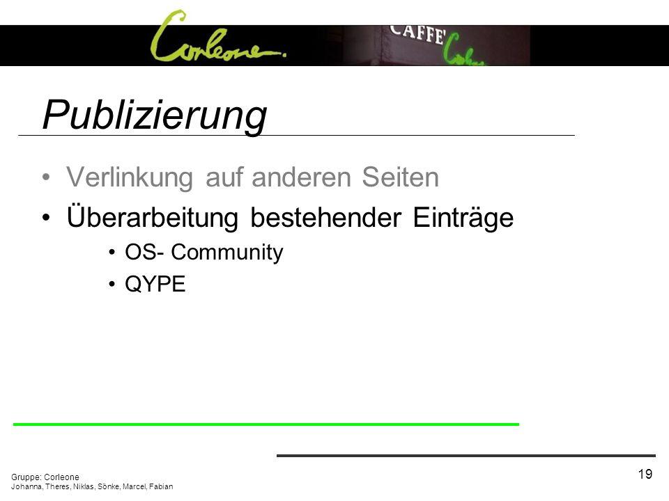 Gruppe: Corleone Johanna, Theres, Niklas, Sönke, Marcel, Fabian 19 Publizierung Verlinkung auf anderen Seiten Überarbeitung bestehender Einträge OS- Community QYPE