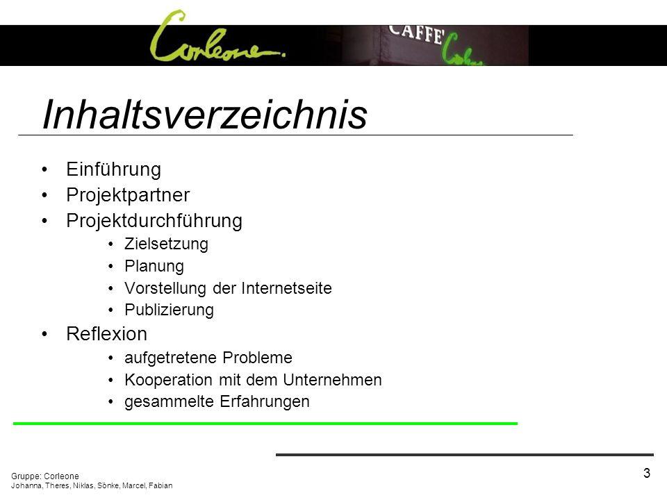 Gruppe: Corleone Johanna, Theres, Niklas, Sönke, Marcel, Fabian 3 Inhaltsverzeichnis Einführung Projektpartner Projektdurchführung Zielsetzung Planung