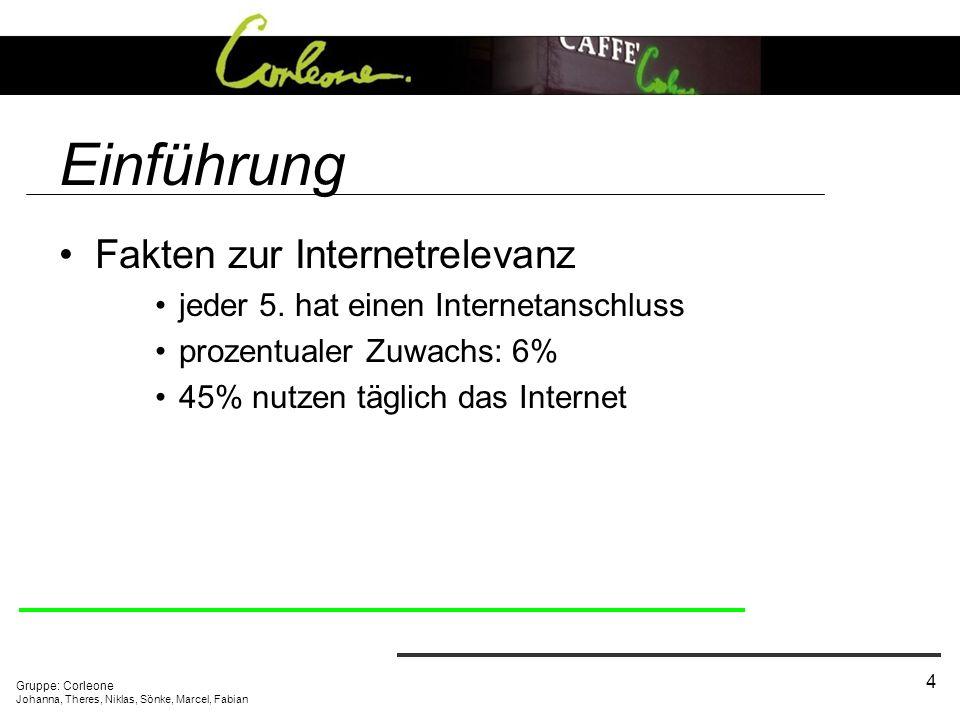 Gruppe: Corleone Johanna, Theres, Niklas, Sönke, Marcel, Fabian 4 Einführung Fakten zur Internetrelevanz jeder 5. hat einen Internetanschluss prozentu