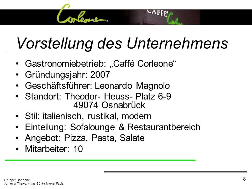 Gruppe: Corleone Johanna, Theres, Niklas, Sönke, Marcel, Fabian 8 Vorstellung des Unternehmens Gastronomiebetrieb: Caffé Corleone Gründungsjahr: 2007