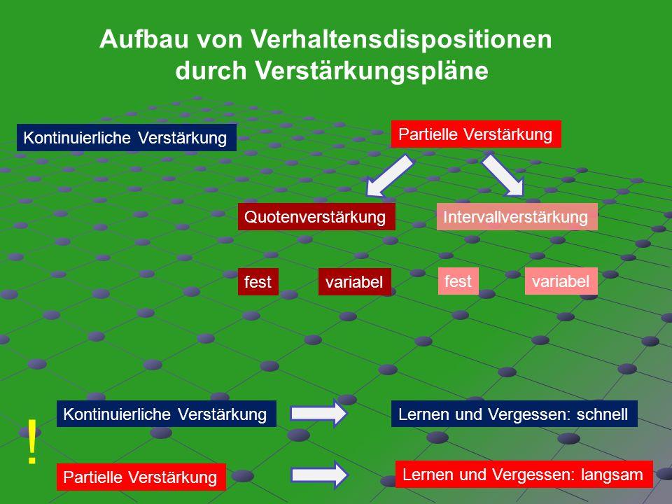 Aufbau von Verhaltensdispositionen durch Verstärkungspläne Kontinuierliche Verstärkung Partielle Verstärkung IntervallverstärkungQuotenverstärkung fes