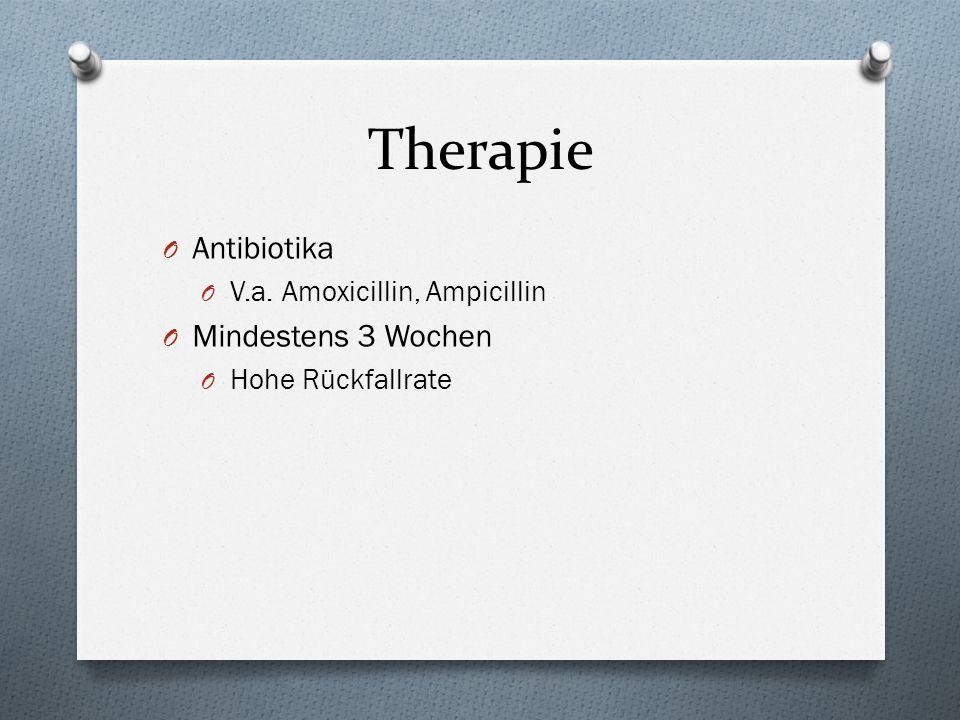 Therapie O Antibiotika O V.a. Amoxicillin, Ampicillin O Mindestens 3 Wochen O Hohe Rückfallrate