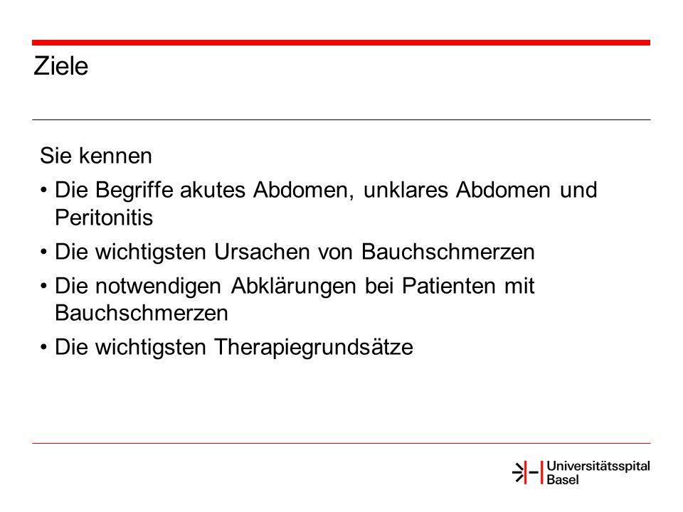 Ziele Einführung Aetiologie Diagnostik Therapie Zusammenfassung Abdominalschmerzen
