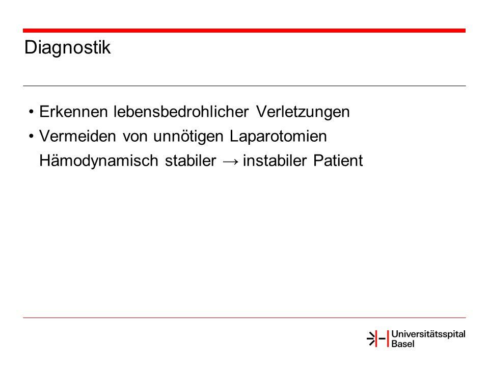 Diagnostik Erkennen lebensbedrohlicher Verletzungen Vermeiden von unnötigen Laparotomien Hämodynamisch stabiler instabiler Patient